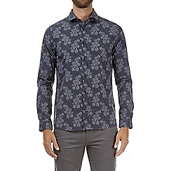Burton - Navy long sleeve floral print shirt