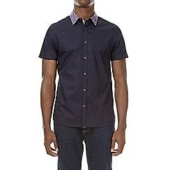 Burton - Navy short sleeve paisley collar shirt