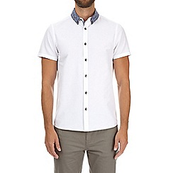 Burton - White short sleeve paisley collar shirt