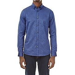 Burton - Bright blue long sleeve jacquard shirt