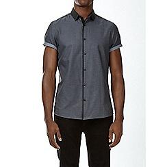 Burton - Grey short sleeve jacquard collar shirt