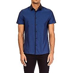 Burton - Navy short sleeve tipped jacquard shirt