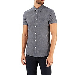 Burton - Short sleeve navy textured shirt