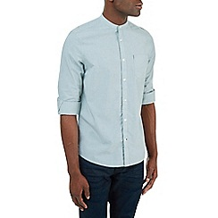 Burton - Rolled sleeve green grandad collar shirt