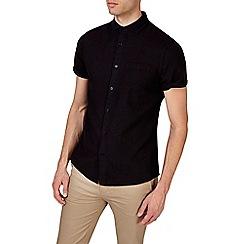 Burton - Black short sleeve smart linen shirt