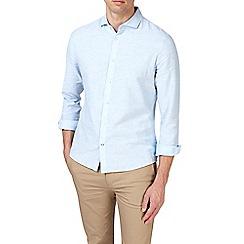 Burton - Light blue long sleeve smart linen shirt