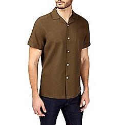 Burton - Khaki short sleeve linen revere collar shirt
