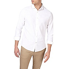 Burton - White long sleeve smart linen shirt