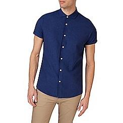 Burton - Navy short sleeve smart linen shirt