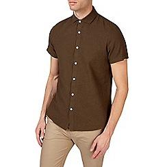 Burton - Khaki short sleeve smart linen shirt