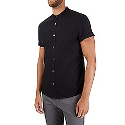 Burton - Black short sleeve grandad shirt