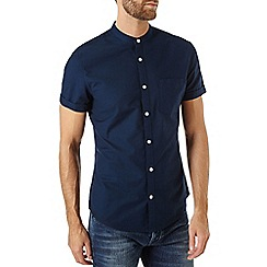 Burton - Navy short sleeve oxford grandad shirt