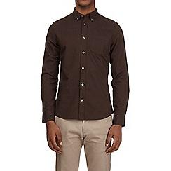Burton - Brown long sleeve button down collar oxford shirt