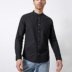 Burton - Black long sleeve grandad collar oxford shirt