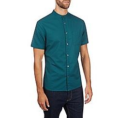 Burton - Teal short sleeve grandad collar shirt