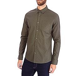 Burton - Khaki long sleeve oxford print shirt