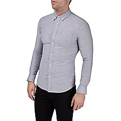 Burton - Long sleeve grey muscle fit oxford shirt with stretch