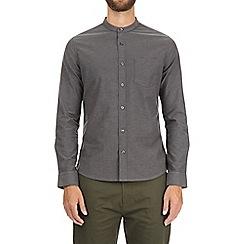 Burton - Charcoal long sleeve grandad oxford shirt