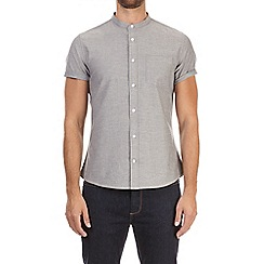 Burton - Grey short sleeve oxford granddad shirt
