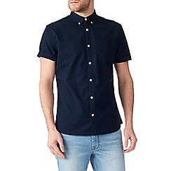 Burton - Short sleeve navy oxford shirt