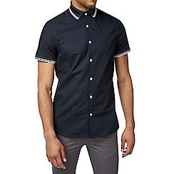 Burton - Navy short sleeve tipped oxford shirt