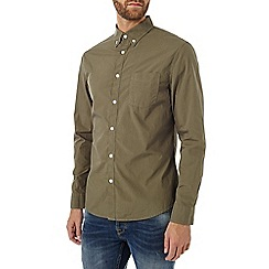 Burton - Long sleeve khaki poplin shirt