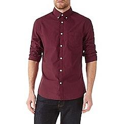 Burton - Long sleeve burgundy poplin shirt