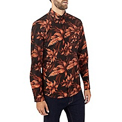 Burton - Black and rust floral long sleeve shirt