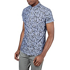 Burton - Chambray short sleeve floral shirt