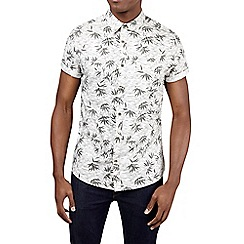 Burton - Short sleeve ecru leaf print shirt