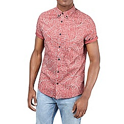 Burton - Rust short sleeve leaf print shirt