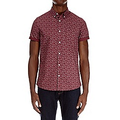 Burton - Burgundy short sleeve geometric print shirt