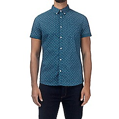 Burton - Teal short sleeve geometric print shirt
