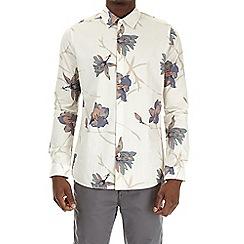 Burton - Ecru long sleeve floral print shirt