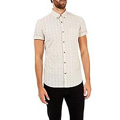 Burton - Short sleeve ecru floral print shirt