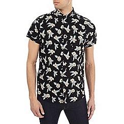 Burton - Black short sleeve floral shirt