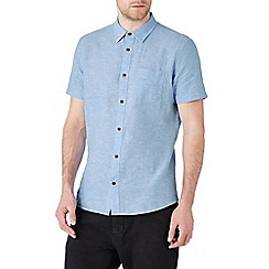 Burton - Short sleeve light blue linen blend shirt