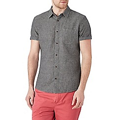 Burton - Short sleeve grey linen blend shirt