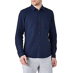 Burton - Long sleeve navy linen blend shirt