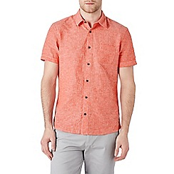 Burton - Short sleeve coral linen blend shirt