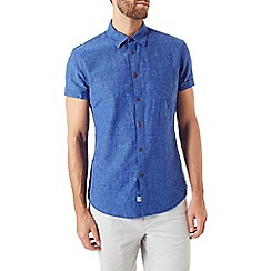 Burton - Short sleeve blue linen blend shirt