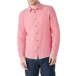 Burton - Long sleeve pink linen blend shirt
