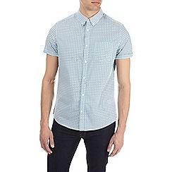 Burton - Teal short sleeve geometric print shirt