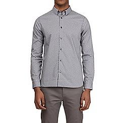 Burton - Navy geometric print long sleeve shirt