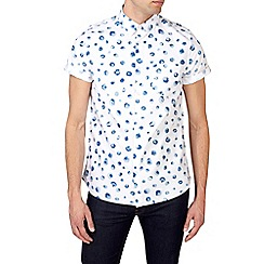 Burton - White and blue short sleeve spotted shirt