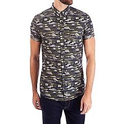 Burton - Khaki camo print short sleeve shirt
