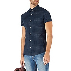 Burton - Short sleeve navy polka dot shirt