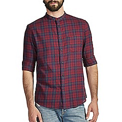 Burton - Purple check grandad shirt