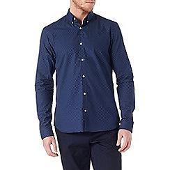 Burton - Long sleeve navy patterned shirt