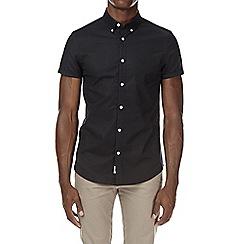 Burton - Black short sleeve stretch skinny fit oxford shirt